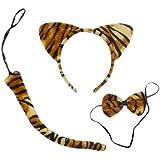 LUOEM Disfraz de tigre lindo animales gatito orejas de gato diadema pajaritas conjunto de cola traje de fiesta cosplay, paquete de 3 (franja de tigre)