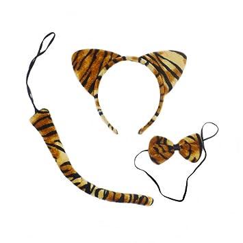 LUOEM Disfraz de tigre lindo animales gatito orejas de gato diadema pajaritas conjunto de cola traje de fiesta cosplay, paquete de 3 (franja de tigre): ...