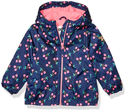 Girls Jacket Cherry - Osh Kosh Baby Girls Midweight Jacket with Fleece Lining, Cherries On Indigo, 18 Months