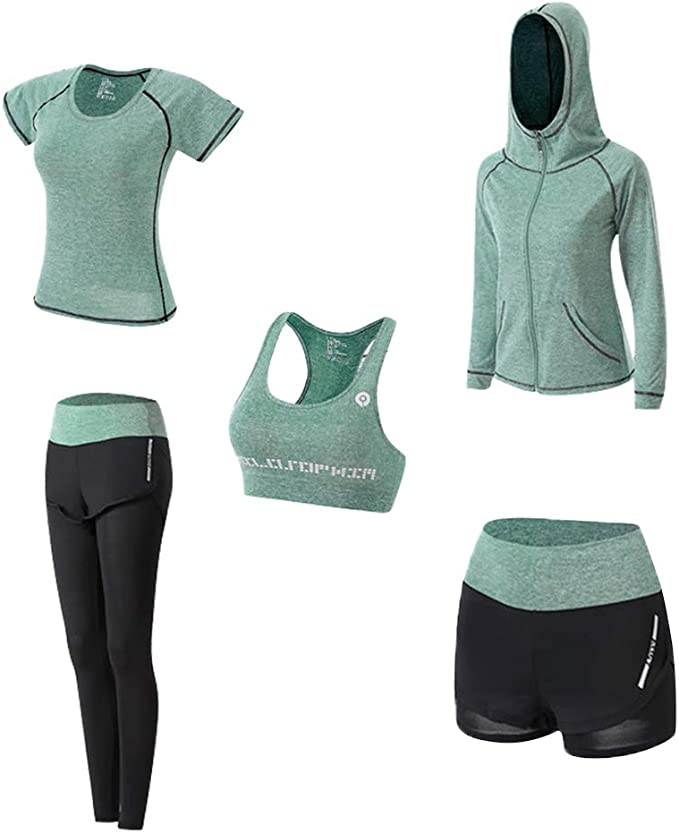YOUTHUNION Women's 5pcs Yoga Suit, Sport Suits Activewear Set Fitness Running Athletic Tracksuits
