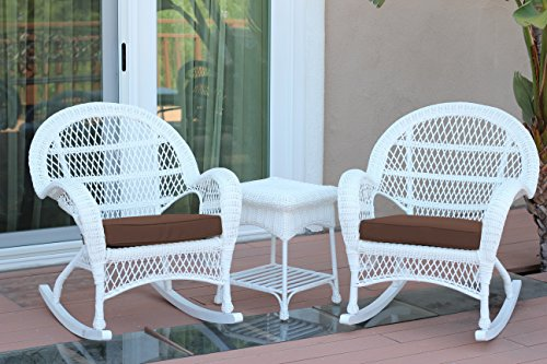 Jeco 3 Piece Santa Maria Rocker Wicker Chair Set with Brown Cushions, White