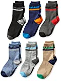 Jefferies Socks Big Boys' Stripe Crew Socks 6 Pack, Multi, Medium