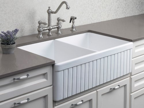 ALFI brand AB537 White 32-Inch Fluted Double Bowl Fireclay Farmhouse Kitchen Sink,