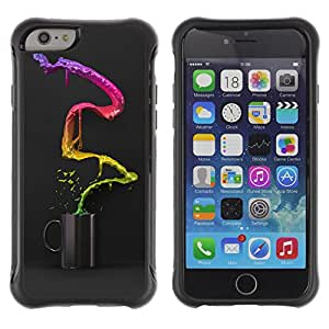 Hybrid Anti-Shock Defend Case for Apple iPhone 6 4.7 Inch / Cool Colorful Coffee Waterfall