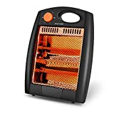 Trustech Portable Infrared Radiant Heater with 2 Heating Setting Switch, 350W/700W, Energy Efficient Overheat and Tip-Over Protection for Home and Office, Black