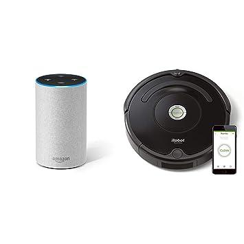 Echo gris claro + iRobot Roomba 671 - Robot aspirador suelos duros y alfombras, tecnología