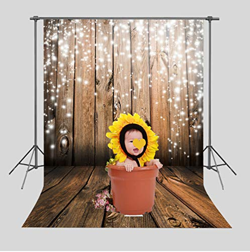 Art Studio 5x7ft Christmas Party Decor Photo Background Snowflake Antique Wooden Floor Wall Bokeh Photography Backdrops Baby Shower Photo Studio Booth Vinyl ()