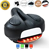 Prodigen Comfort Gel Bike Seat for Women or Men, Bicycle Saddle Replacement Padded Soft High Density Memory Foam with Dual Shock Absorbing Rubber Ball Suspension Universal Fit for Indoor/Outdoor Bikes
