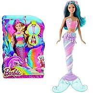 Barbie Rainbow Lights Mermaid Doll and Mermaid Doll, Candy Fashion Bundle