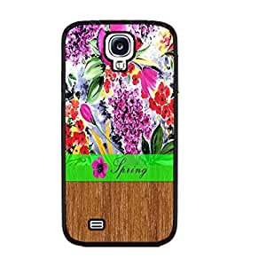 Vintage Floral Series Hybrid Wood Pattern Print Hard Back Case Cover Protector Fit for Samsung Galaxy S4 I9500 Cell Phone (women black ju5232)