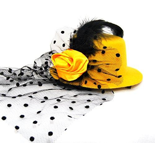 Satin Rose Veil Mini Hat Fascinator Hair Clip - Gold / Mustard (Mini Hat With Veil)