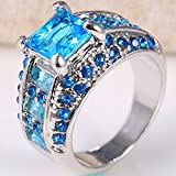 Sumanee Charm Women 925 Silver Blue Topaz Ring Wedding Engagement Jewelry Size 6-10 (6)