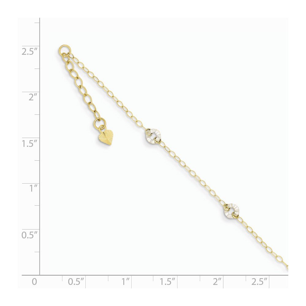 14K White Gold /& Yellow Gold Jewelry Anklets with Stations Anklets Adjustable Oval Chain Wavy Circles 1in Ext Anklet