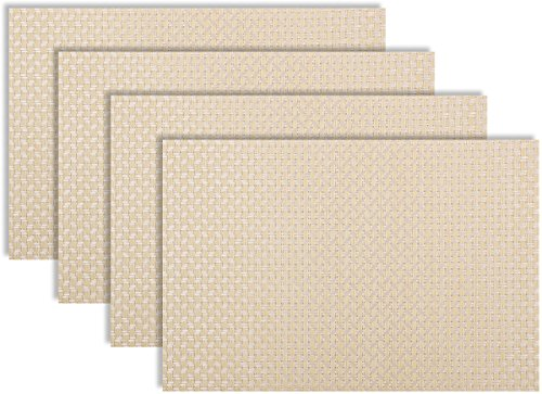 Secret Life(TM) Set of 6 Art Style Decor Home Vinyl Woven Dinner Table Placemat Set (6, Braid Ivory)