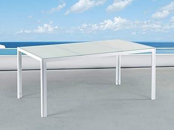Beliani Table de Jardin Aluminium - Plateau en Verre Blanc 160 cm ...