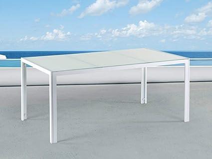 Beliani Table de Jardin Aluminium - Plateau en Verre Blanc ...