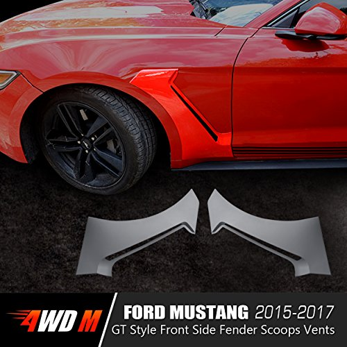 4WDMUSCLE GT350 Style Front Side Fender Scoops Vents For Ford Mustang 2015 2016 2017 - - Logo H Red C Black