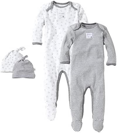 Burt's Bees Baby - Set of 2 Bee Essentials Footed Coveralls + 2 Knot Top Hats, 100% Organic Cotton