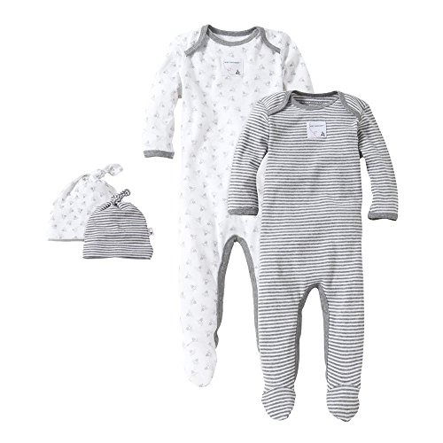 Honey Bee Outfit (Burt's Bees Baby - Set of 2 Bee Essentials Footed Coveralls + Knot Top Hats, Heather Grey Honeybee/Stripe (6-9 Months))