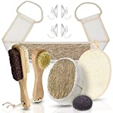 #8: Home Spa Set - Brush, Scrub, Exfoliate, Wash - Face and Body with Konjac Sponge, Loofah, Back and Foot Scrubbers, Facial Brush, Pumice Stone and Body Sponge Comes with Hooks and Mesh Storage Bag.