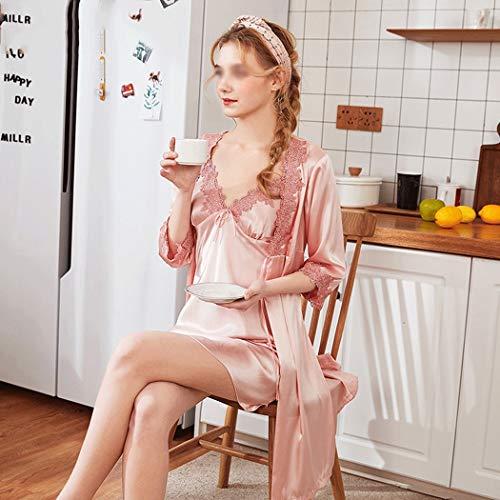 Metro Tamaño Sexy Bata Pijamas Satén Primavera De Pink Dos Y Mujer Piezas Verano Pink Huifang Camisón color ZCqx6x