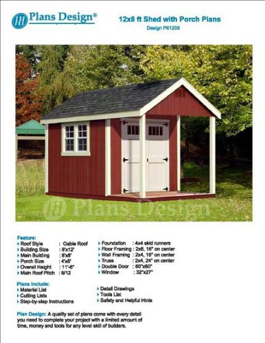 Plans design p61208 12 39 x 8 39 cabin loft utility shed with for Shed with porch and loft