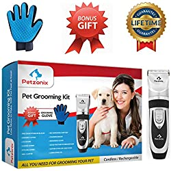 Petzonix Pet Grooming Kit | Set Includes Detangler Comb, Deshedding Glove, Nail Clippers & Hair Scissors for Dogs & Cats | Cordless & Rechargeable Professional Trimmer for Short, Medium & Long Fur