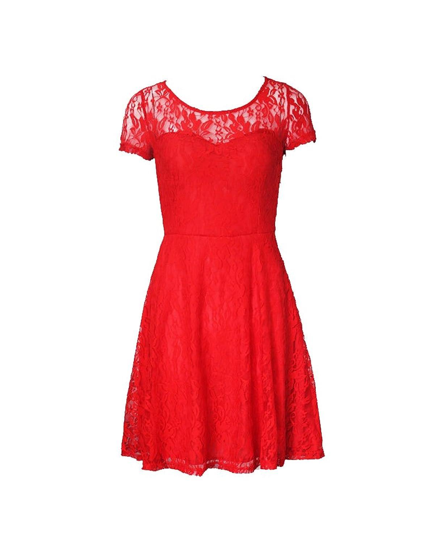 Leymor Women Short Sleeve Pleated Lace Slim Dress