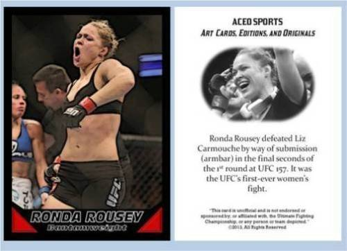 Ronda Rousey 2013 ACEO Rookie Card RC UFC 157 Commemorative MMA in a one touch magnetic case!