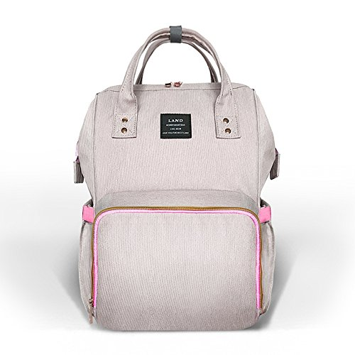 Diaper Bag Backpack Large Capacity for Baby Care Wide Open Design and Waterproof Fabric (Pink Grey)