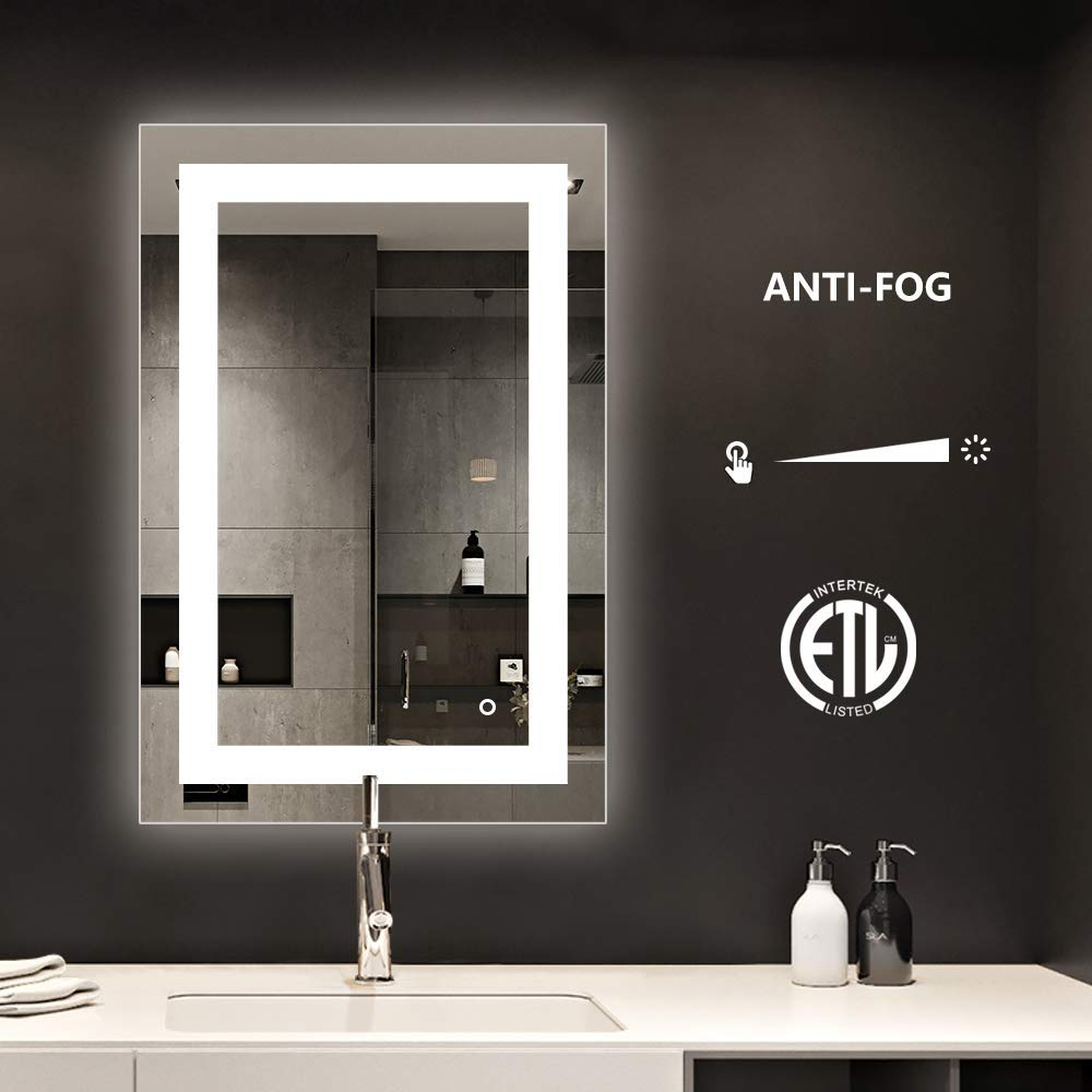 smartrun Bathroom Backlit Lighted Mirror with Defogger, Vanity Lighted Mirror with Dimmable Touch, 24 X 36