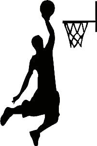 YINGKAI Male Basketball Player Dunking on Light Switch Decal Vinyl Wall Decal Sticker Art Living Room Carving Wall Decal Sticker for Kids Room Home Window Decoration