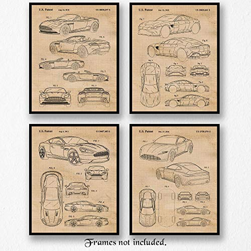 Original Aston Martin Collection Patent Poster Prints, Set of 4 (8x10) Unframed Photos, Wall Art Decor Gifts Under 20 for Home, Office, Man Cave, College Student, Teacher, England Cars & Coffee Fan