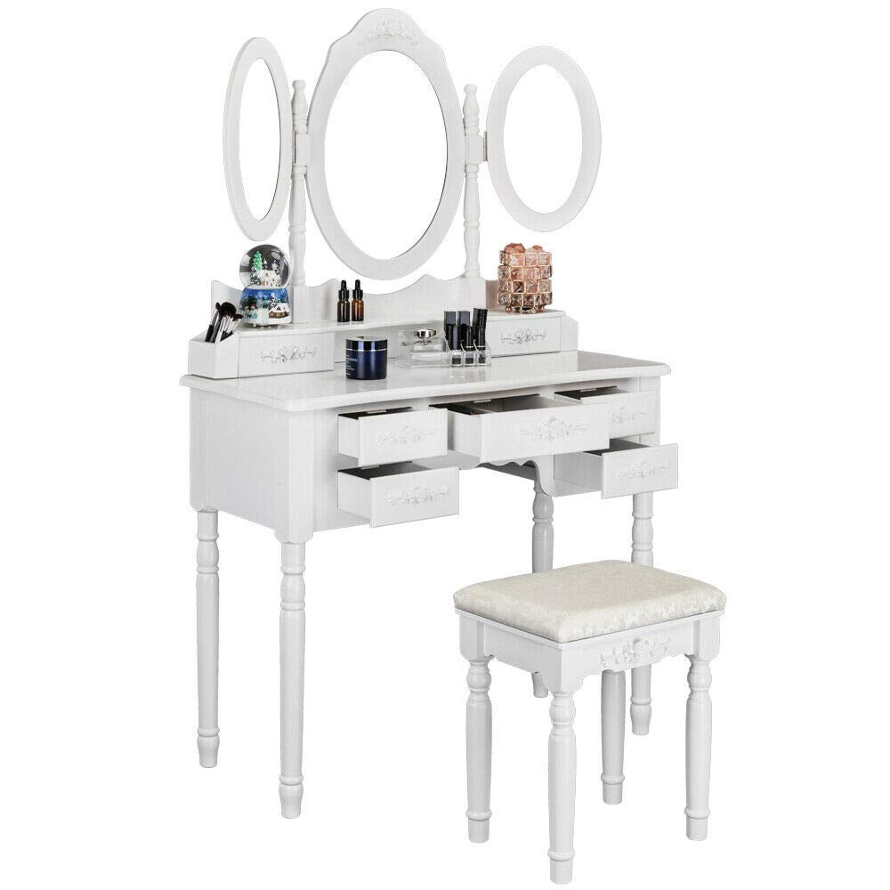 Ngeamsuwanshop Vanity Makeup Dressing Table Set Folding Mirror Desk Dresser W/Stool Wood White