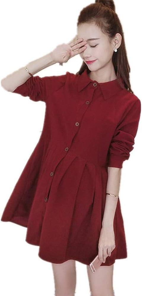 Uioy Mujeres embarazadas otoño ropa primavera nueva camisa camisa (color : Vino rojo, Tamaño : Metro): Amazon.es: Bricolaje y herramientas
