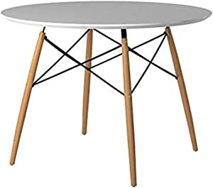 Neos Modern Furniture White MDF Top with Natural Beech Wood Legs Round Table