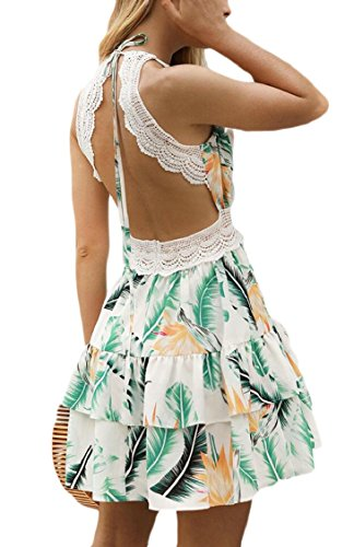 Summer Neck Women Jaycargogo V Beach White Mini Floral Dresses Print Halter Bq5awpRaI