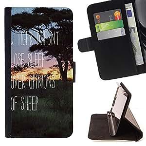 - Tiger Dosnt Lose Sleep Over Opinons Of Sleep/ Personalizada del estilo del dise???¡Ào de la PU Caso de encargo del cuero del tir????n del soporte d - Cao - For Samsung Galaxy S5 V SM-G900