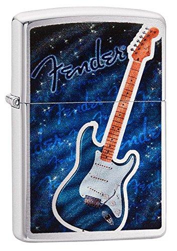 Guitar Lighter (Zippo Fender Blue Guitar Pocket Lighter, Brushed Chrome)