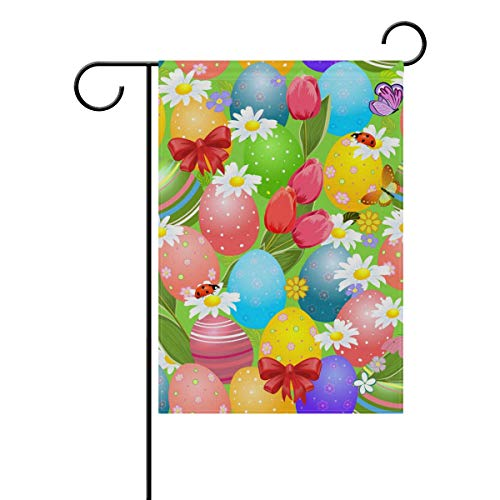 WIHVE Polyester Garden Flag, Colorful Easter Eggs Flower Double Sided Holiday Flag for Party Home Outdoor Decoration 12 x 18 ()