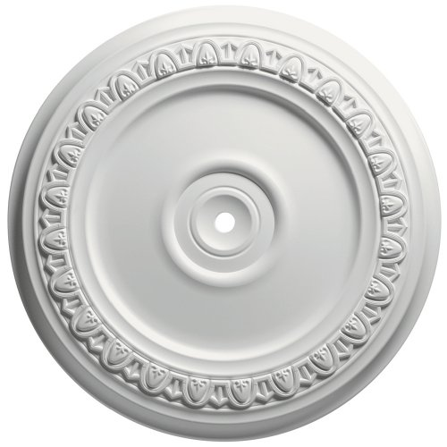 Focal Point 83312 12-Inch Egg and Dart Medallion 12 1/2-Inch by 12 1/2-Inch by 1 1/8-Inch, Primed White - Light Fixture Medallions