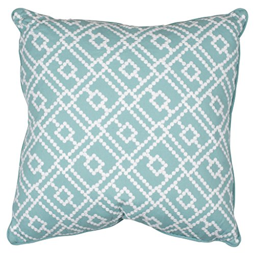 Feather Filled Decorative Pillows - Embroidered Geometric Throw Pillow for Couch, Chair, Bed or Sofa
