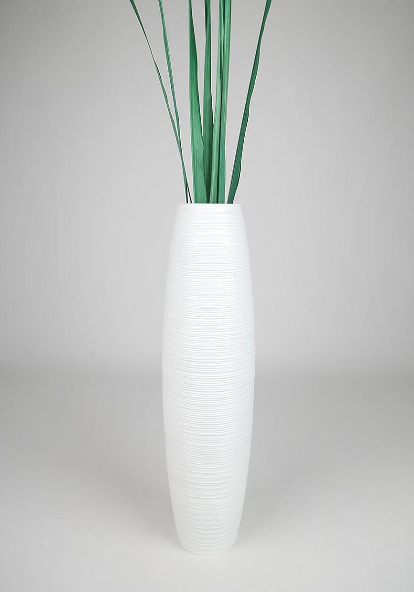 Leewadee Tall Floor Vase 30 inches, Wood, White