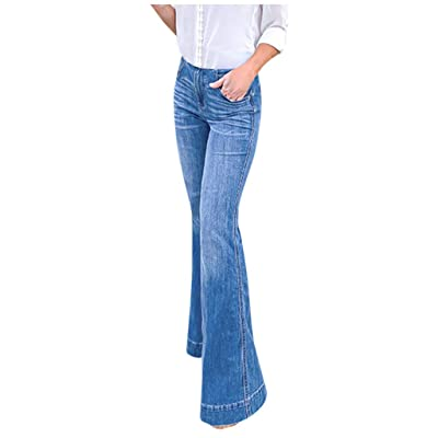 Handyulong Womens Jeans Bootcut High Rise Stretch Denim Pants Wide Leg Bell Bottom Flare Jegging Sweatpants Plus Size at Women's Jeans store