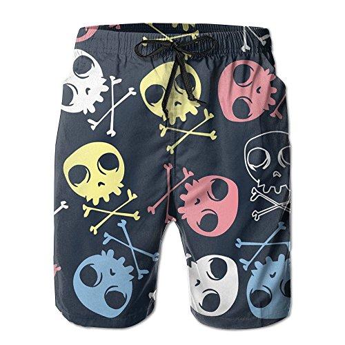 - Cartoon Skull Logo Men Beach Shorts Fitness Pants Household Swim Trunks XXL