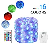 DOMEZAN Fairy lights Battery Powered Color Changing String Lights With Remote 50LED Indoor Decorative Silver Wire Lights for Bedroom Patio Outdoor Garden Stroller Christmas Tree (16ft)