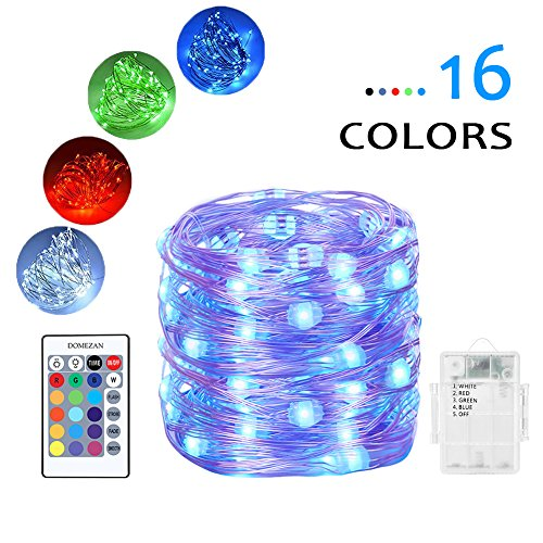 DOMEZAN Fairy lights Battery Powered Color Changing String Lights With Remote 50LED Indoor Decorative Silver Wire Lights for Bedroom Patio Outdoor Garden Stroller Christmas Tree (16ft) -