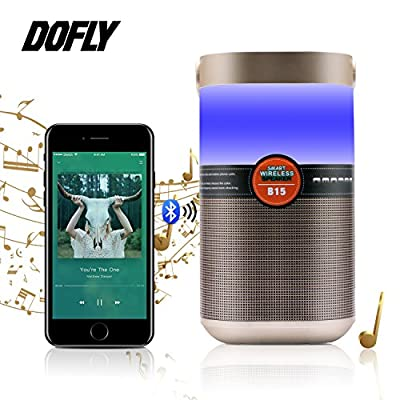 DOFLY Bedside Lamp Smart Touch Wireless Bluetooth Speaker Night Changing Mood Music Player with Radio Function for Bedroom Outdoor Use