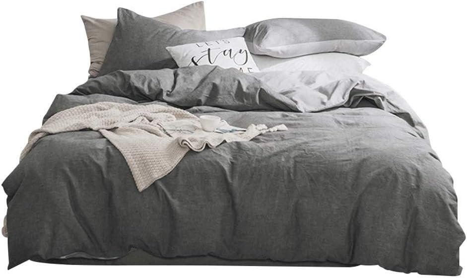 BestBed 4つの寝具セット100%コットンウォッシュコットンベッドシート掛け布団カバー寝具セット4枚1.5m /1.8m/2.0m反応性褪色なし褪色なし灰色 (Size : 2.0m(6.6feet))