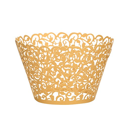 (Cupcake Wrappers 100 pcs, fretwork Filigree Bake Cake Paper Cups Wrappers, latticework lacework Artistic of Baking Cup Muffin Case Trays for Wedding Birthday Party Decoration)